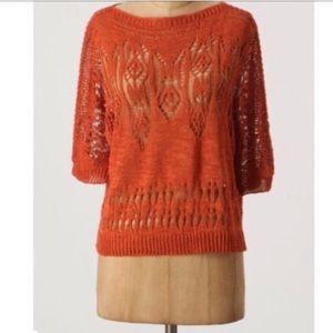 Anthropologie Moth Crochet burnt orange sweater